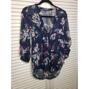 Express Floral Button Up Top